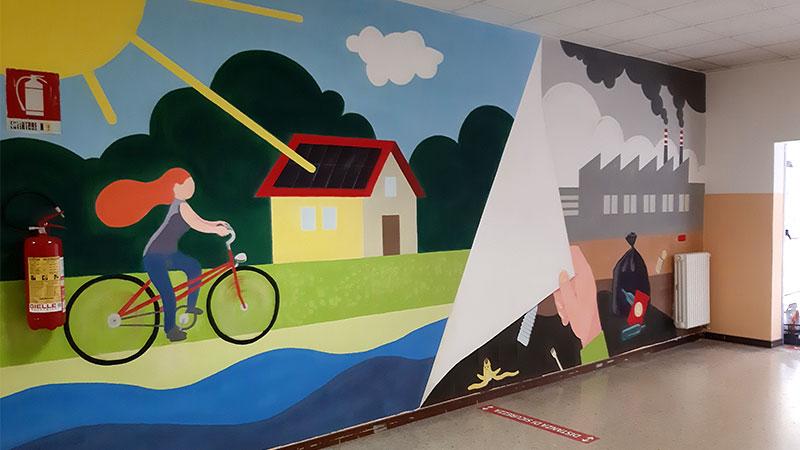 Il murale per l'ambiente nella scuola Leonardo Da Vinci di Milano