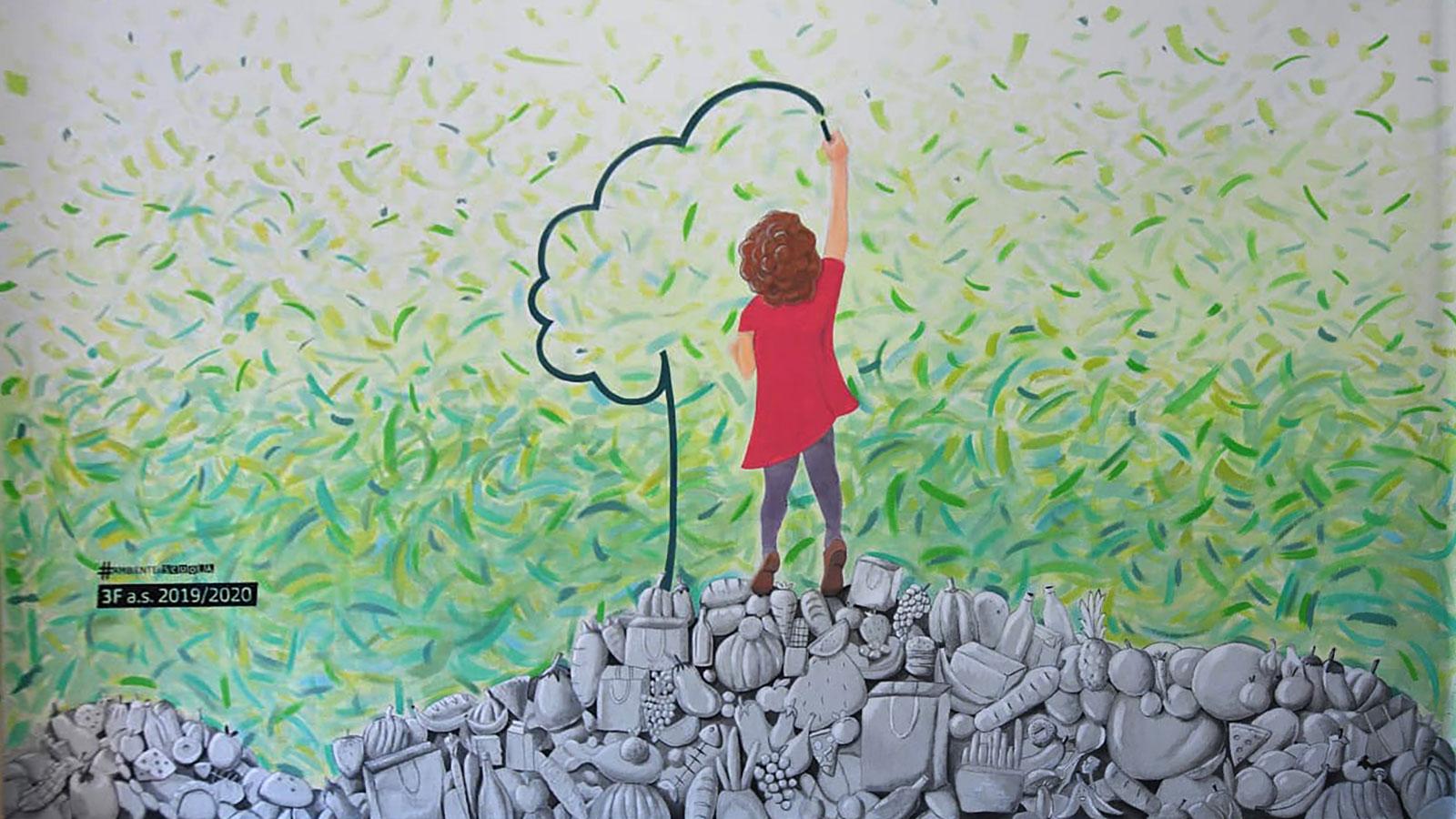 Il murale per l'ambiente nella scuola IICS Barozzi/Confalonieri